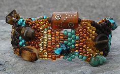 Free Form Peyote Stitch Beaded Bracelet  The Dance by Cher C Meyer, on Etsy
