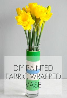 Painted Fabric Wrapped Vase DIY