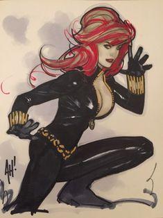 Black Widow by Adam Hughes Comic Art Comic Book Artists, Comic Artist, Comic Books Art, Adam Hughes, Bd Comics, Comics Girls, Star Wars Poster, Star Wars Art, Star Trek