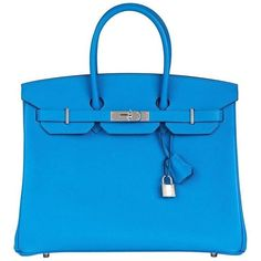 Hermes Blue Zanzibar Epsom Leather Birkin 35cm ❤ liked on Polyvore featuring bags, handbags, blue leather purse, hermes purse, genuine leather handbags, hermes bag and blue purse