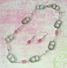 Magenta Pink and Silver Pop Tab Necklace and Earrings by Cheryl's Art Box, via Flickr