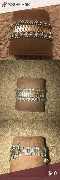 Stella & Dot bracelet This bracelet can be made smaller by taken the links out on the back as pictured, it's gold and silver with clear rhinestones Stella & Dot Jewelry Bracelets