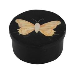 Amazon.com: Black Stone Box with Lid Butterfly Decorations Handmade by Artisan, Set of 2: Home & Kitchen