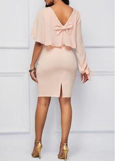 Pink Bowknot Back Ruffle Overlay Sheath Dress | Rosewe.com - USD $32.19