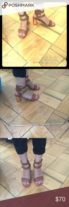 Dolce Vita double strap cutout sandal. Dolce Vita tan double strap sandal with cutouts on leather and scalloped detailing. Gold heel. Dolce Vita Shoes Sandals