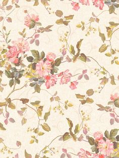 A beautiful wallpaper print that will transform your room into a rose garden. From the book Painted Garden, available at AmericanBlinds.com