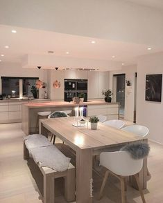 Awesome modern kitchen room are readily available on our internet site. Read more and you wont be sorry you did. Open Plan Kitchen Living Room, New Kitchen, Kitchen Island, Island Table, Island Bench, Awesome Kitchen, Küchen Design, House Design, Interior Design