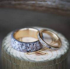 Rings Wedding Matching Set of Antler and Yellow Gold Wedding Bands. Handcrafted by Staghead Designs. Wedding Rings Simple, Custom Wedding Rings, Gold Wedding Rings, Wedding Jewelry, Matching Wedding Band Sets, Wedding Matches, Matching Set, Matching Rings, Or Rose