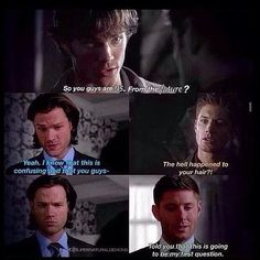 Imagine that Sam and Dean went to the past and found with themselves LOL ^_^ #Supernatural funny #Dean #Sam