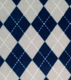 Anti-Pill Fleece Fabric Blue And Gray Argyle