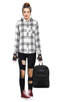"""""""Last Week of School: Day 1"""" by choice-to-be ❤ liked on Polyvore featuring Skin, JanSport, WithChic, Rails, New Look, Charlotte Russe and Converse"""