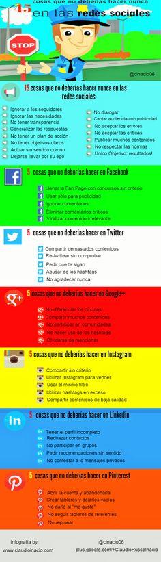 45 cosas que no debes hacer en Redes Sociales. #infografia #socialmedia
