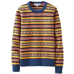 Ines Jacquard Crew Neck Sweater ($31) ❤ liked on Polyvore featuring tops, sweaters, uniqlo sweater, colorful sweaters, multicolor sweater, multi color tops and snowflake pattern sweater