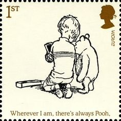 Childrens Books - Winnie The Pooh Stamp Winnie-the-Pooh and Christopher Robin Winnie The Pooh Quotes, Winnie The Pooh Friends, Pooh Bear, Tigger, Eeyore, Uk Stamps, First Day Covers, Vintage Stamps, Penny Black