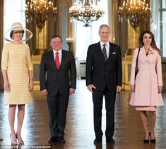 ♔♛Queen Rania of Jordan♔♛... Queen Mathilde,  King Abdullah of Jordan, King Philippe and Queen Rania pose for an official photo at the beginning of the Jordanian royals' two-day state visit to Belgium