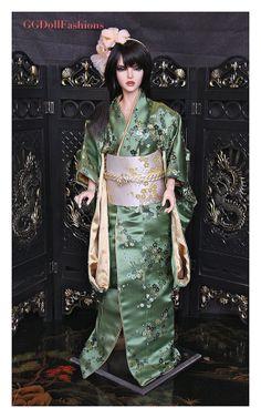 Kimono from   Brocaded Silk Furisode  Japanese traditional Dress for BJD Dolls 1/3 SD, 60sm, 24', SD16 Volks , SD Iplehouse , Sadol