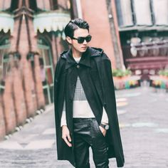 Mens-Trendy-Black-Cool-Hooded-Coat-Long-Casual-Windbreaker-Casual-Capes-Poncho