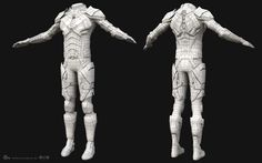 This is the real-time version of the suit. Retopo and UVs done in Maya 2016. Texturing and shading done in Substance Painter. Images from Marmoset Toolbag. Different variations.