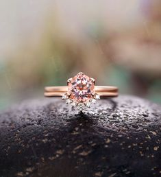 Morganite engagement ring set Diamond curved wedding band vintage prong set ring rose gold Wedding ring set unique anniversary ring set Wedding Ring Sets Unique, Wedding Rings Sets Gold, Curved Wedding Band, Wedding Band Sets, Diamond Wedding Rings, Alexandrite Engagement Ring, Morganite Engagement, Engagement Ring Settings, Rose Gold Ring Set