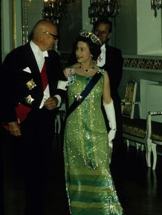 Queen Elizabeth II did know how to dress back in the day.  Here she is in bugle beads.