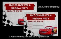 Disney Cars Birthday Party #birthday #party #invitation #template #printable #cars #disney #lightiningmcqueen $2.00