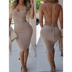Sexy Spaghetti Strap Sleeveless Lace-Up Solid Color Women's Taupe Dress