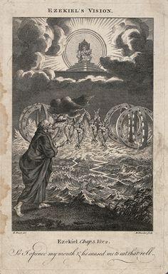 File:Ezekiel has a phantasmagorical vision of angels and spheres Wellcome - Wikimedia Commons Esoteric Art, Vintage World Maps, Bible, Faith, Wikimedia Commons, Angels, Study, Biblia, Studio