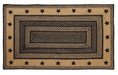 "Farmhouse Star Stencil Rectangle Braided Rug 36x60"""
