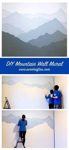 Mountain Mural, Mountain Paintings, Mountain Bedroom, Mountain Decor, Mountain Nursery, Bedroom Murals, Bedroom Wall, Diy Bedroom Decor, Baby Bedroom