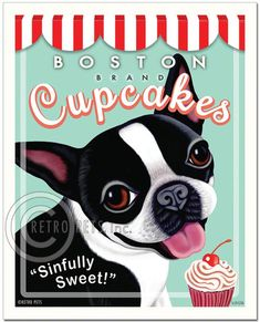 "Boston Terrier Art ""Boston Brand Cupcakes"" Art Print by Krista Brooks"