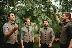 There isn't much lamer and personality-lacking than a groom in a traditional suit and tie. Something like what these gentlemen are wearing is so much cuter– especially the vest and that nice teal shirt. www.timcoulson.com