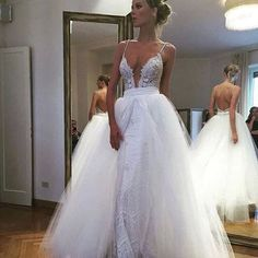 Lace Bridal Dress with Open Back,Deep V Neck Wedding Dress with Tulle,Beautiful Prom Dress,JD 288