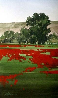"Joseph Alleman || Meadows Rim 2006, Watercolor,  20"" x 12"""