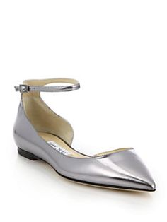Jimmy Choo - Lucy Metallic Leather Ankle-Strap Flats