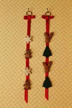 Tänään on valmistunut seinäkoristeita koristeellisista napeista ja kapeasta nauhasta. Nappien sijasta koristeeseen voisi käytää joulukort...