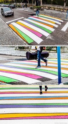Colorful and artistic crosswalks by art by Bulgarian artist Christo Guelov on the streets of Madrid, Spain - photos by Rafael Perez Martinez, via Contemporist Land Art, Street Art, Instalation Art, Urbane Kunst, Street Painting, Painting Art, Street Furniture, Art Mural, Urban Planning