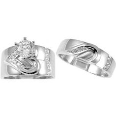 3 Pieces Men S Women S His Hers Engagement Wedding Ring Set