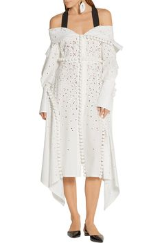 Shop on-sale Proenza Schouler Off-the-shoulder broderie anglaise cotton dress. Browse other discount designer Dresses & more on The Most Fashionable Fashion Outlet, THE OUTNET.COM