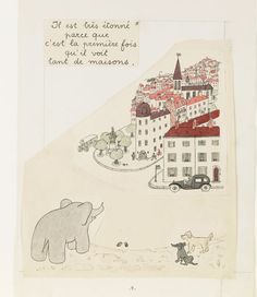 Jean de Brunhoff (1899-1937), Dummy with illustration for page nine of Histoire de Babar, le petit éléphant, ink and watercolor drawing with handwritten text.