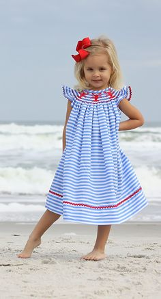Smocked Lobster Dress on horizontal blue stripe from Smocked Auctions