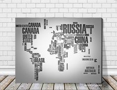 Typography Gray and Black World Map Large Wall by WorldMapCanvas