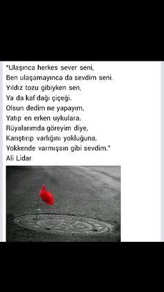 Ulaşınca herkes sever seni Ben ulaşamayınca da sevdim seni ... Ali Lidar Book Quotes, Cool Words, Karma, Poems, Nirvana, Poetry, Verses, Poem