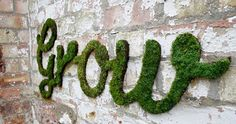 How to Make Moss Graffiti. Creating living, breathing moss graffiti is an eco-friendly and exciting way to make art! Also called eco-graffiti or green graffiti, moss graffiti replaces spray paint, paint-markers or other such toxic. Outdoor Wall Art, Outdoor Walls, Outdoor Living, Outdoor Spaces, Moss Grafitti, Graffiti En Mousse, Art Mural En Plein Air, Growing Moss, Graffiti Wall Art