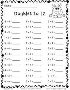 math-Adding Doubles and a Freebie - Smiling and Shining in Second Grade 2nd Grade Math Worksheets, Free Math Worksheets, Addition Worksheets First Grade, 2nd Grade Math Games, Printable Worksheets, Math Doubles, Doubles Song, Doubles Addition, Doubles Worksheet