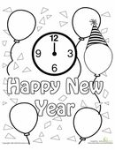 This festive coloring page features confetti, balloons, and the message 'Happy New Year.'
