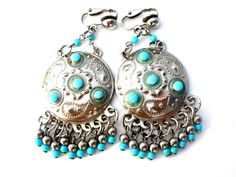 Boho Turquoise Blue Earrings Vintage Dangle - The Jewelry Lady's Store - 1