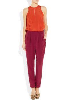 Tibi  Two-tone silk crepe de chine jumpsuit