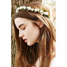 Grace Flower Crown ($4.99) ❤ liked on Polyvore featuring accessories, hair accessories, hair, hairstyles, bohemian hair accessories, wire garland, floral garland, artificial garland and floral crown