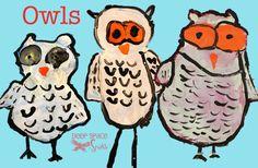 owl paintings, kinderhaus
