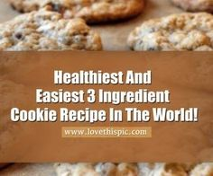 Healthiest And Easiest 3 Ingredient Cookie Recipe In The World! FULL RECIPE HERE easiest cookie easy cookie recipe chocolate ch. Cookie Recipes For Kids, Healthy Cookie Recipes, Oatmeal Cookie Recipes, Plain Cookie Recipe, Simple Cookie Dough Recipe, Cocoa Powder Recipes, 3 Ingredient Cookies, Cookies Ingredients, 3 Ingredients